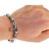 Mens Blue Diamond Bullet Link Bracelet 14K White Gold 8.63 ct