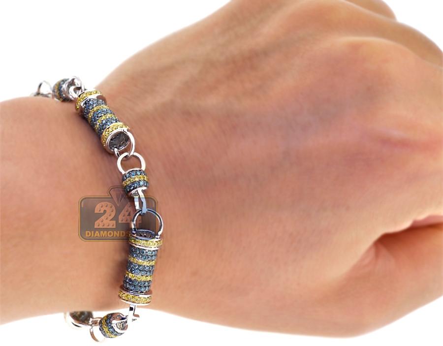 mens blue diamond bullet link bracelet 14k white gold ct. Black Bedroom Furniture Sets. Home Design Ideas