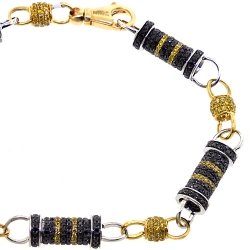 Mens Black Diamond Bullet Bracelet 14K Two Tone Gold 8.29 ct