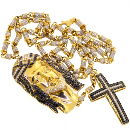 Mens Diamond Jesus Christ Rosary Necklace 14K Yellow Gold 24.63ct