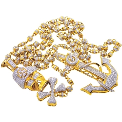 Mens Diamond Anchor Skull Rosary Necklace 14K Yellow Gold 15.87ct