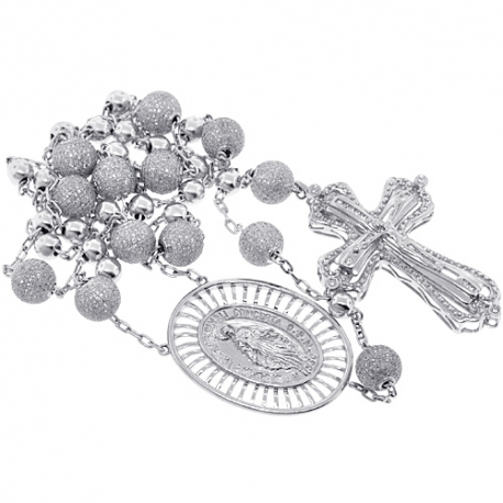 Mens Diamond Rosary Beads Cross Necklace 14K White Gold 9.31ct