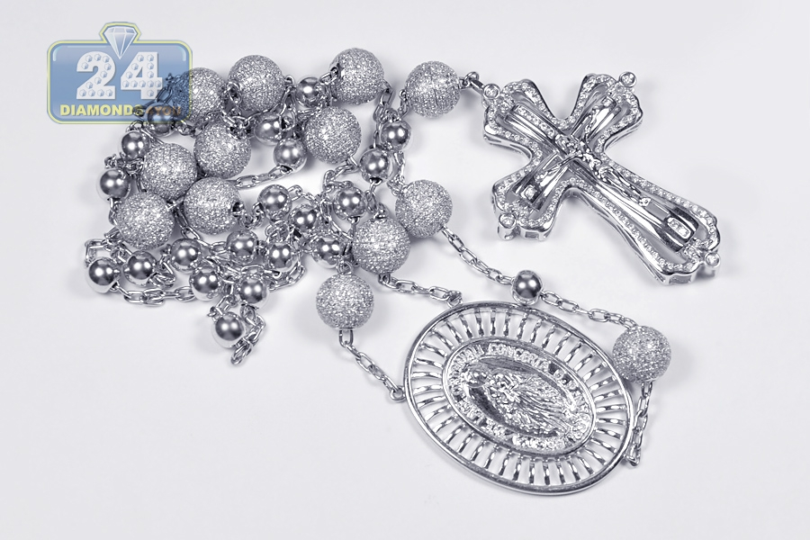 Mens Diamond Rosary Beads Cross Necklace 14k White Gold 9 31ct