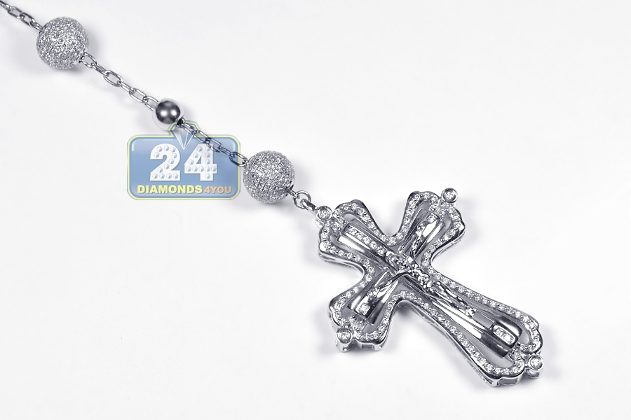 Mens diamond rosary beads cross necklace 14k white gold 931ct aloadofball Choice Image