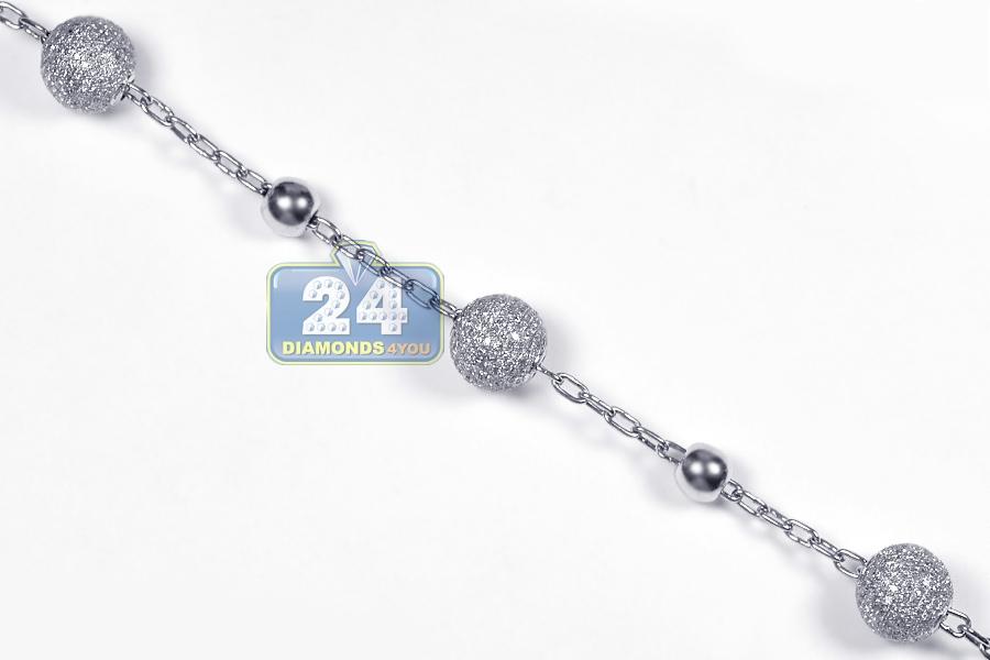 mens diamond rosary beads cross necklace 14k white gold. Black Bedroom Furniture Sets. Home Design Ideas