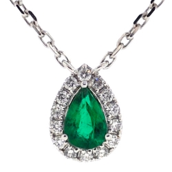Womens Emerald Diamond Pear Drop Necklace 14K White Gold 0.68ct