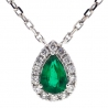 Womens Emerald Diamond Drop Necklace 14K White Gold 0.68 ct