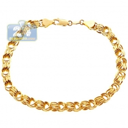 Real 10K Yellow Gold Rolo Byzantine Link Mens Bracelet 5.5mm 9""