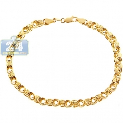 10K Yellow Gold Rolo Byzantine Mens Bracelet 4.5 mm 9 Inches