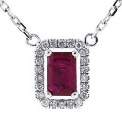 14K White Gold 0.78 ct Ruby Diamond Halo Pendant Necklace