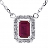 Womens Ruby Diamond Halo Drop Necklace 14K White Gold 0.78ct