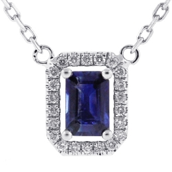 Womens Sapphire Diamond Drop Necklace 14K White Gold 0.74 ct
