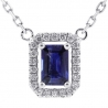 Womens Blue Sapphire Diamond Drop Necklace 14K White Gold .74ct