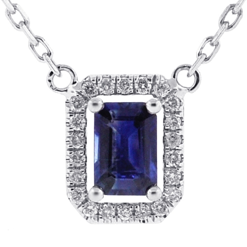 Womens Blue Sapphire Diamond Drop Necklace 14K White Gold .74ct df12c26bff