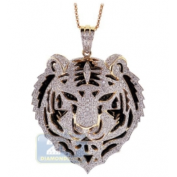 14K Yellow Gold 2.68 ct Diamond Tiger Head Mens Pendant