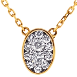 Womens Diamond Oval Drop Necklace 14K Yellow Gold 0.28 ct