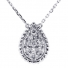 Womens Diamond Pear Drop Pendant Necklace 14K White Gold 0.71ct