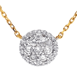 Womens Diamond Cluster Halo Necklace 14K Yellow Gold 0.86ct