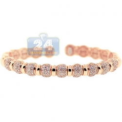 14K Rose Gold 1.57 ct Diamond Bead Womens Cuff Bracelet