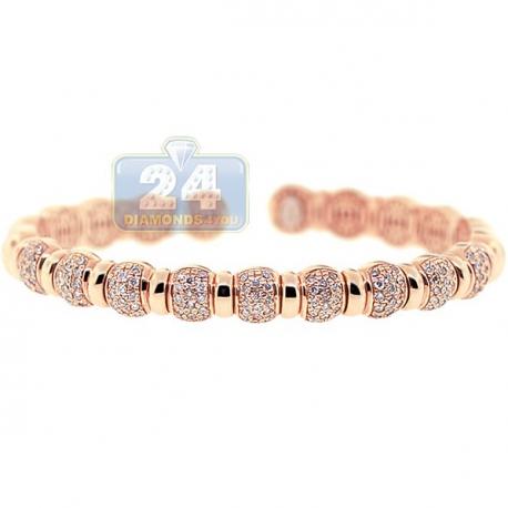 Womens Diamond Pave Bead Cuff Bracelet 14K Rose Gold 1.57 ct