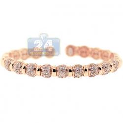 14K Rose Gold 1.57 ct Diamond Bead Womens Cuff Bracelet