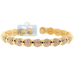 14K Yellow Gold 1.57 ct Diamond Bead Womens Cuff Bracelet