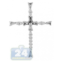14K White Gold 0.17 ct Diamond Latin Cross Womens Pendant