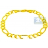 Solid 10K Yellow Gold Figaro Cuban Link Mens Bracelet 9mm 9.25""