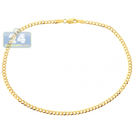 Solid 10K Yellow Gold Cuban Link Womens Ankle Leg Bracelet 10""