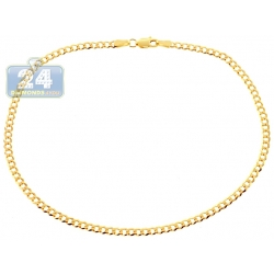 10K Yellow Gold Cuban Link Womens Ankle Bracelet 10 Inches