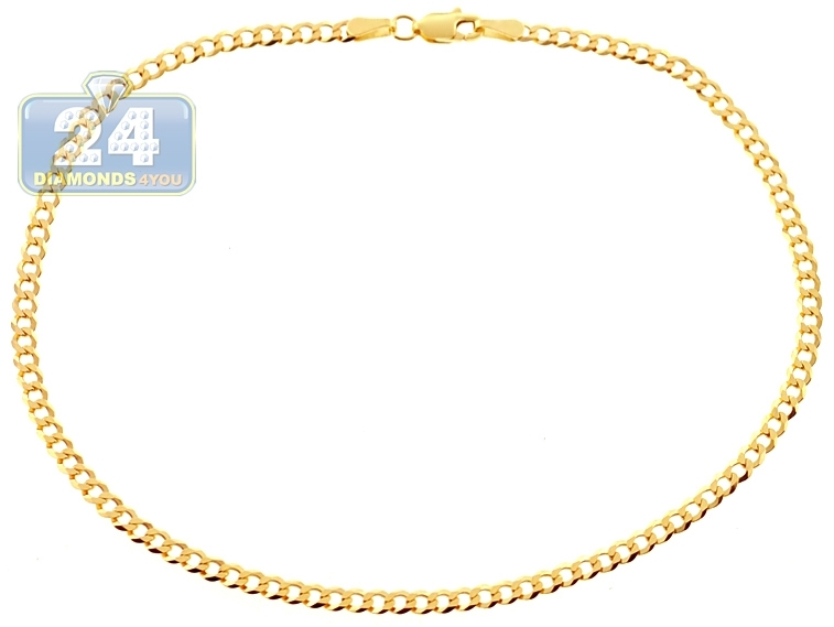 ankle diamond gold figaro inch womens cut leg anklet yellow bracelet inches