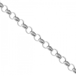 Solid Sterling Silver Open Rolo Cable Mens Chain 3 mm