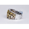Womens Fancy Yellow Diamond Band Ring 14K White Gold 3.74 ct