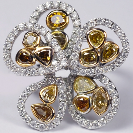 Womens Fancy Yellow Diamond Flower Ring 14K White Gold 3.31 ct