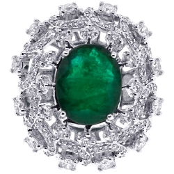 Womens Emerald Diamond Dome Ring 18k White Gold 6.62 ct