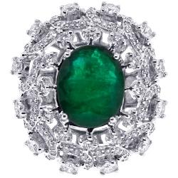 18K White Gold 6.62 ct Emerald Diamond Womens Dome Ring