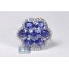 Womens Tanzanite Diamond Cluster Ring 14K White Gold 5.94 ct