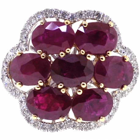 Womens Ruby Diamond Cluster Ring 14K Two Tone Gold 7.72 ct