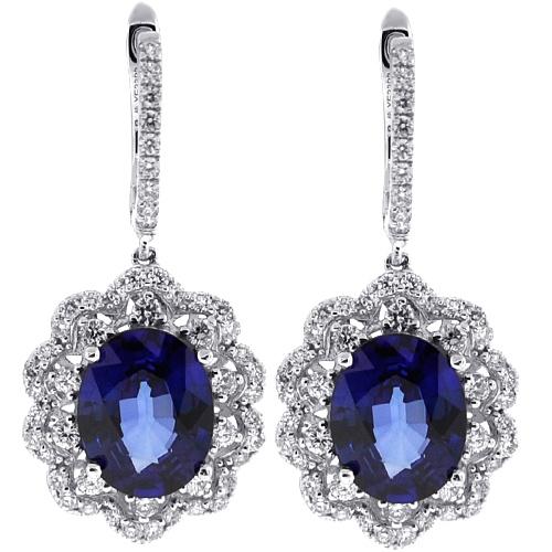 Blue Sapphire Diamond Drop Earrings 14K White Gold 6 88 ct