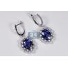 Womens Blue Sapphire Diamond Drop Earrings 14K White Gold 6.88 ct