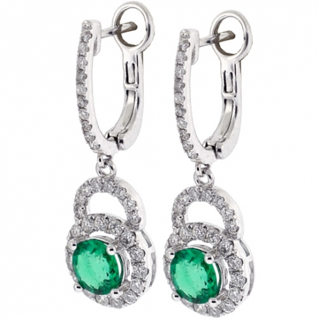 Womens Emerald Diamond Drop Earrings 18K White Gold 2.51 ct