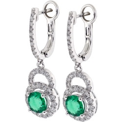 18K White Gold 2.51 ct Emerald Diamond Womens Earrings