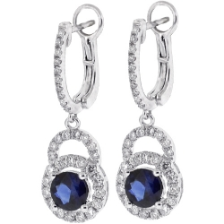 Womens Blue Sapphire Diamond Drop Earrings 18K White Gold 2.93 ct