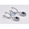 Womens Blue Sapphire Diamond Drop Earrings 18K White Gold 2.93 ct