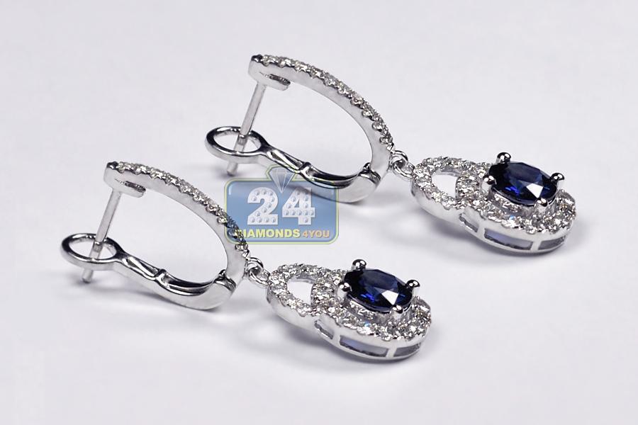 Womens Blue Sapphire Diamond Drop Earrings 18K White Gold 2 93 ct