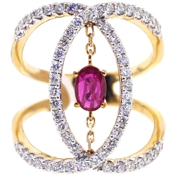 Womens Diamond Ruby Open Loop Ring 14K Yellow Gold 1.31 ct