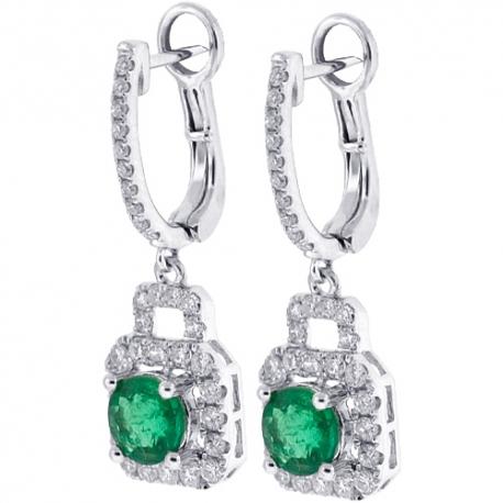 Womens Emerald Diamond Dangle Earrings 18K White Gold 2.66 ct