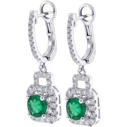 18K White Gold 2.66 ct Emerald Diamond Womens Drop Earrings