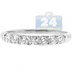 14K White Gold 0.47 ct Diamond Womens Band Ring