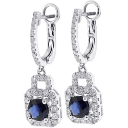 Womens Blue Sapphire Diamond Dangle Earrings 18K White Gold 2.82 ct